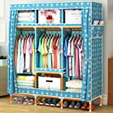 GL&G Oxford cloth Clothes Closet Portable Solid wood Wardrobe Storage Organizer with Shelves Multilayer Sturady Durable Stroage Cabinet ,E,68''51''