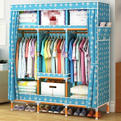 GL&G Oxford cloth Clothes Closet Portable Solid wood Wardrobe Storage Organizer with Shelves Multilayer Sturady Durable Stroage Cabinet ,E,68''51'' by GAOLIGUO