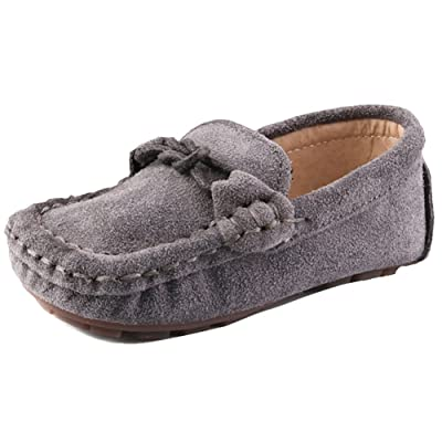 UBELLA Children Girls Boys Suede Leather Slip-On Loafers Kids Casual Boat Dress Shoes