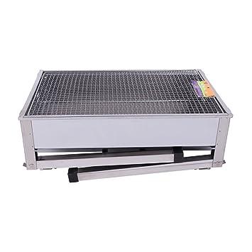 Camping Grill estufa portátil de barbacoa de engrosamiento plegable de acero inoxidable para exterior y hogar: Amazon.es: Hogar