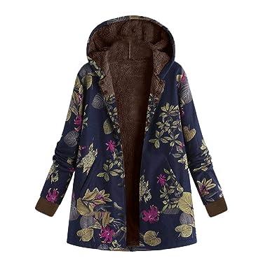 74dfe0968 FNKDOR Manteau à Capuche Femmes Grande Taille Hiver Chaud Veste en Coton  Lâche Poches Rétro Fleurs Impression Plus épais Hasp Outwear Pas Cher