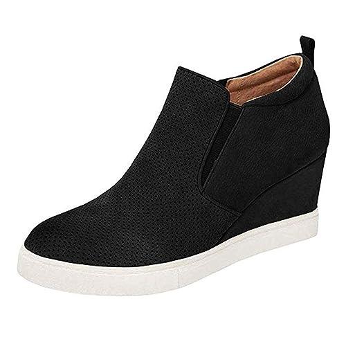 3cd9904ca2c90 Womens Wedge Platform Sneakers High Top Slip On Side Zipper Heel Booties