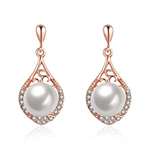 YEAHJOY Girl's Large Rose Gold Plated Pearl Drop Earrings Water-shaped Earrings