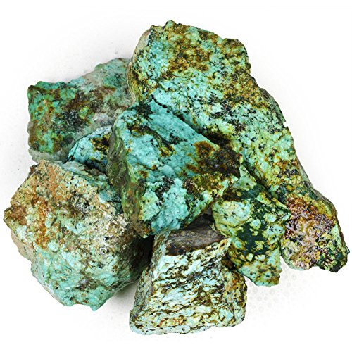 Hypnotic Gems Materials: 1 lb Bulk Rough Chrysocolla Stones (aka. African Turquoise) - Large Assorted Piece Sizes from 1