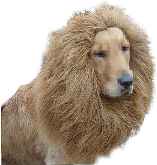 shentaotao 1 Pc Traje De La Peluca Melena De León para Perros Grandes Y Gatos para Halloween Y Cosplay Partes (marrón Claro): Amazon.es: Productos para mascotas