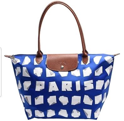 d24e42a22714 Longchamp Vahram Muratyan Paris Blue White Origami Paper Large Bag New   Handbags  Amazon.com