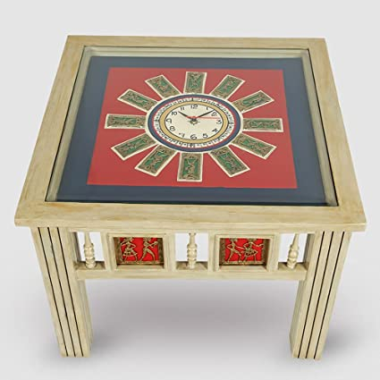 ExclusiveLane Warli U0026 Dhokra Work Teak Wood Side Table With Clock  Bedside  Table Coffee Table