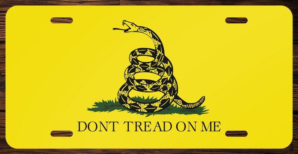 Dont Tread On Me Gadsden Flag Vanity Front License Plate Tag Printed Full Color KCFP006 KCD