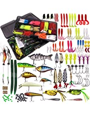 WDG 300Pcs Fishing Lures Kit for Bass, Freshwater Frog Lure with Free Tackle Box, Fishing Lure Set Including Combo Swimbaits, Crankbaits, Spinnerbaits, Plastic Worms, Jigs, Topwater Lures