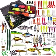 WDG 300Pcs Fishing Lures Kit for Bass, Freshwater Frog Lure with Free Tackle Box, Fishing Lure Set Including C