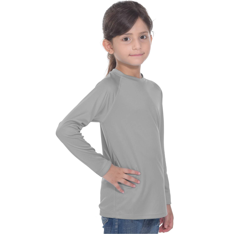 Womens Girls Running Shirt Rashguard - Long Sleeve Basic Skins Sun Shirts Grey XL by PIQIDIG