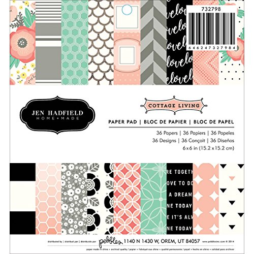 Pebbles Jen Hadfield Cottage Living Patterned Paper Pad, 6 by 6-Inch