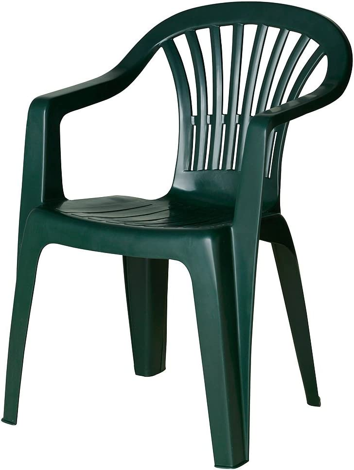 SATURNIA 8330016 Papillon 8330016-Silla Resina monobloc Respaldo bajo, Verde, 48x55x80 cm