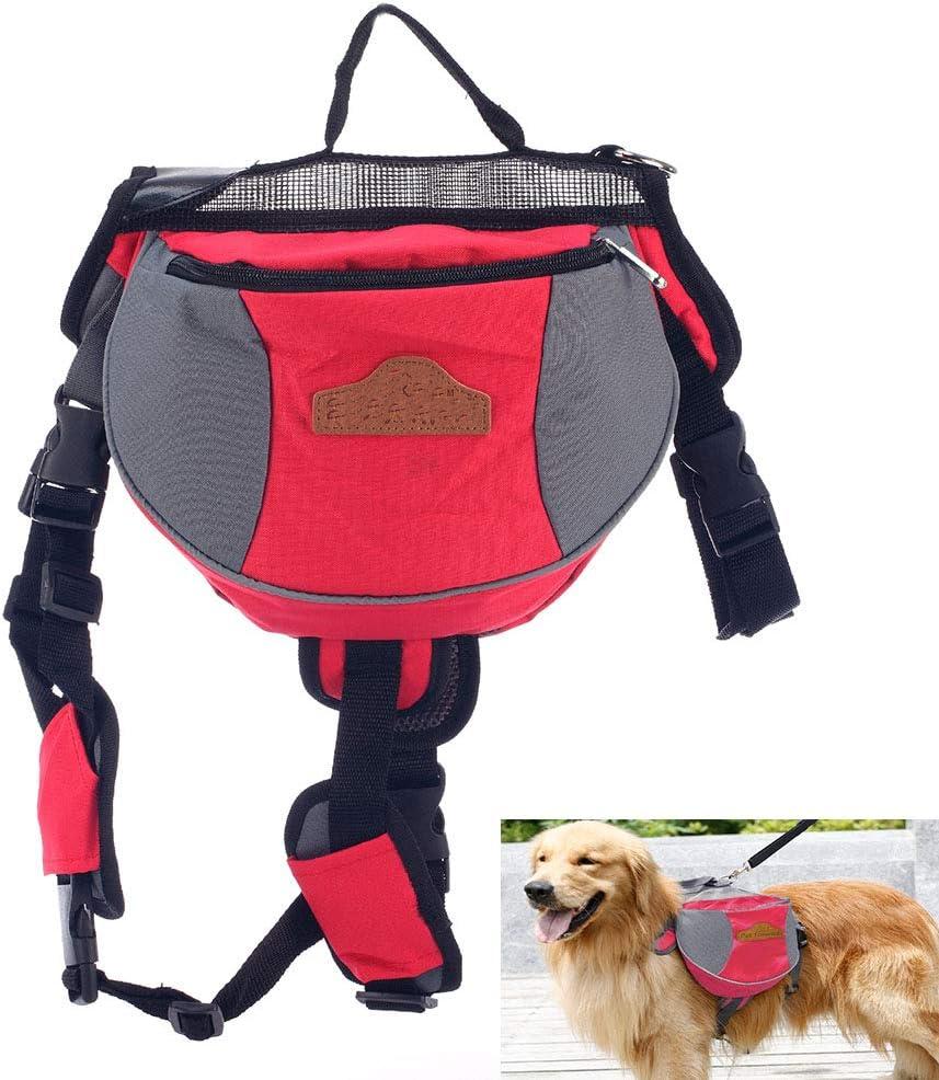 Cacoffay Saddle Bag Pet Backpack Adjustable Portable Dog Bag Hiking Camping Handbag for Medium Large Dog supermarkets, Shopping, Transportation, Food, Drinks,Travel Bag,Red,L