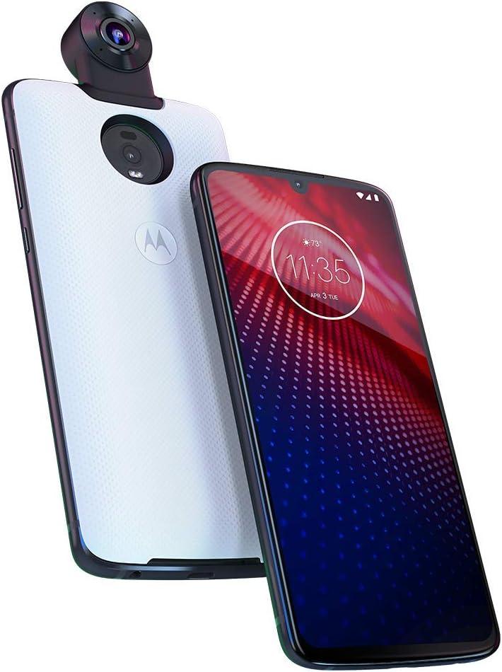 motorola Moto Z4 – Unlocked – 128 GB – Frost White (US Warranty) - Verizon, AT&T, T-Mobile, Sprint, Boost, Cricket, Metro (w/ 360 Camera Mod) (Frost White)