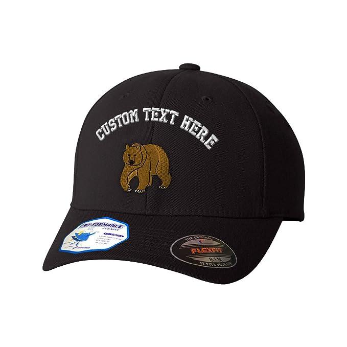 7172609dfbd Amazon.com  Custom Text Embroidered Brown Bear Style 2 Flexfit Hat Baseball  Cap  Clothing