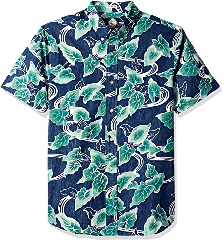 Reyn Spooner Men's Food & Wine Tailored Fit Hawaiian Shirt, 2018-Medieval Blue, M