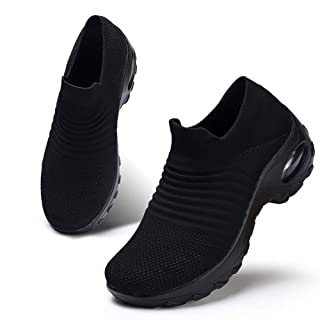 HKR Womens Walking Tennis Shoes Slip On Light Weight Mesh Platform Nursing Shoes Air Cushion Sneakers All Black 8(ZJW1839quanhei40)