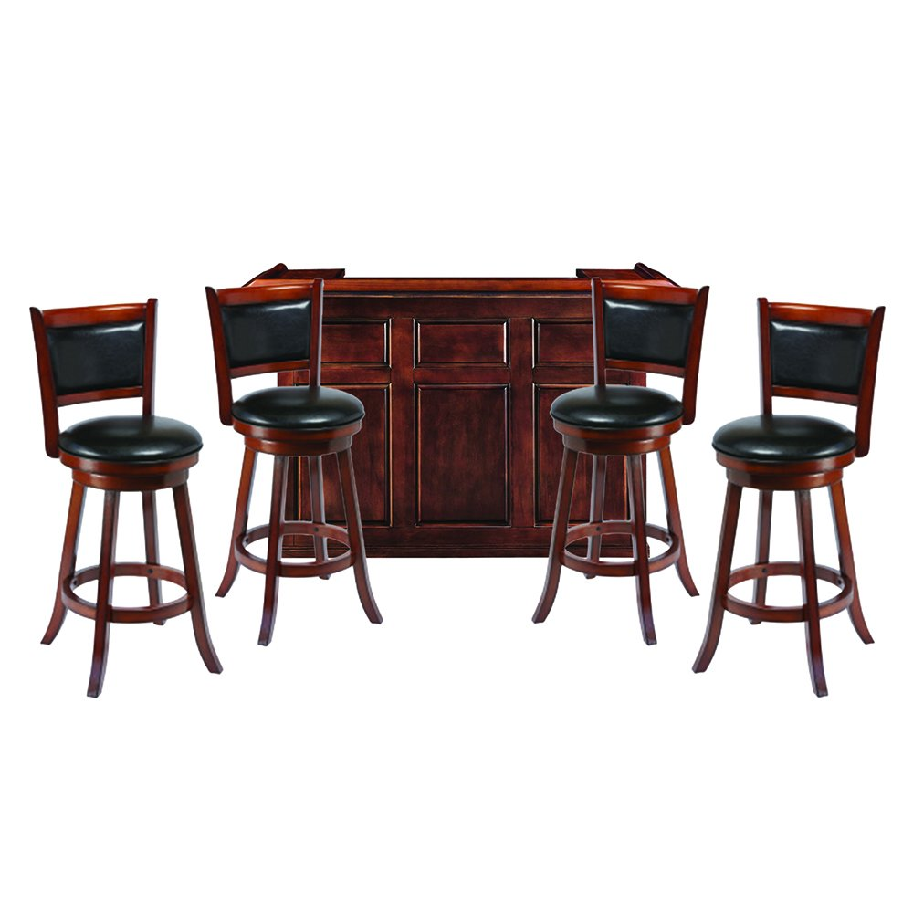 "RAM Gameroom 72"" Chestnut Home Bar with 4 Matching Bar Stools"