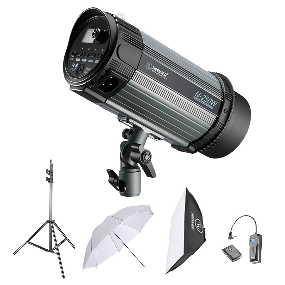 Neewer 250W Studio Strobe Flash Photography Lighting Kit:(1)Monolight,(1)6.5 Feet Light Stand,(1)Softbox,(1)RT-16 Wireless Trigger Set,(1)33 Inches Umbrella for Video Location and Portrait Shooting by Neewer