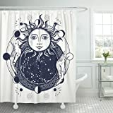Emvency Shower Curtain Magic Mirror Tattoo Antique Sun Fortune Teller Hands Lunar Waterproof Polyester Fabric 60 x 72 inches Set with Hooks