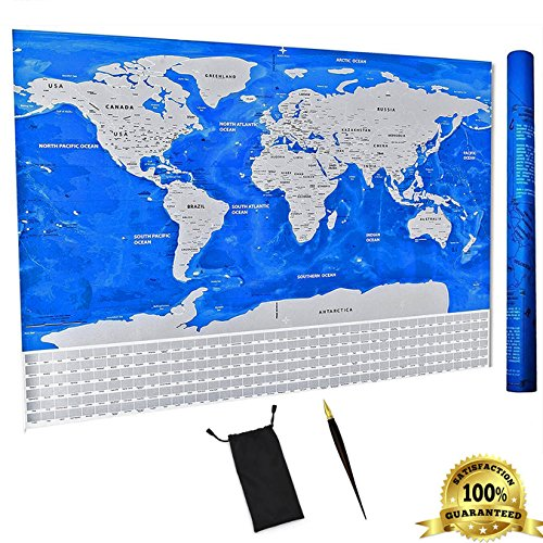 Upgraded Scratch Off World Map Travel Poster Wall Art - With United States & All Country Flags - Track Your Trips & Adventures - Higher Durability & Quality - 32.5 x 23.4 Inches