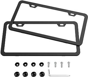 Karoad 2 Holes Slim Design Black Aluminum License Plate Frames with Bolts Washer Caps for US Standard (Two PCS)