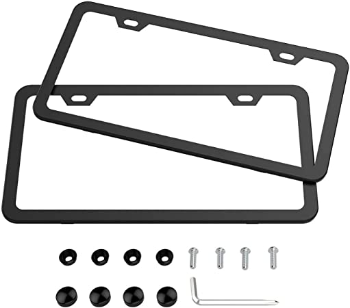 Ibetter 2 PCS Thick Aluminum Alloy License Plate Frames 2 Holes Wide Black Car Licence Plate Holder Covers with Bolts,Washers and Chrome Screw Caps for US Standard