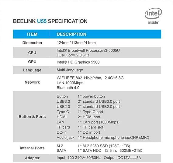Beelink U55 Intel Core i3-5005U Processor 8GB//512GB M.2 SSD Mini PC Windows10 Pro Supports Extended RAM /& SSD//4K@60Hz//Dual HDMI//Dual WiFi// //BT4.0// Fan