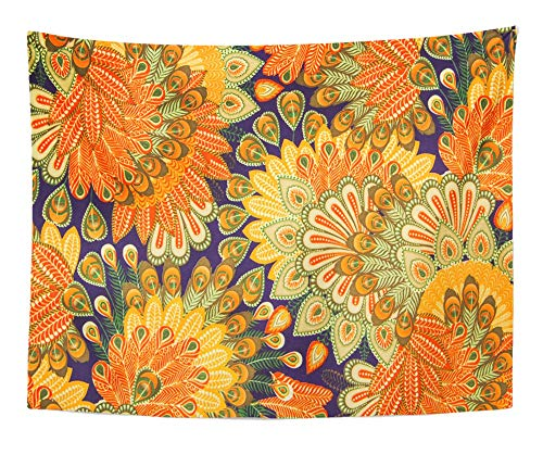 Emvency Tapestry Artwork Wall Hanging Orange 1970S Vintage Pattern Close Up Blue Paisley Floral Seventies 60S 1960S Flower 60x80 Inches Tapestries Mattress Tablecloth Curtain Home Decor -
