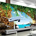 XLI-You 3D Wallpaper Customize Any Size 3D Photo Plane Sea View Wallpaper Live Room Bedroom Wallpaper for Walls 3D Sticker Mural