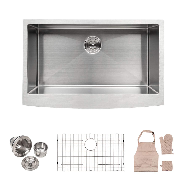 LORDEAR LA3021R1 Bar Sink 30 Inch Farmhouse Apron Single Bowl Stainless Steel Kitchen Sink 16-gauge 10 Inch Deep