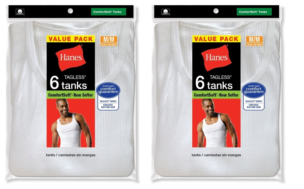 Hanes Mens Tagless ComfortSoft White A-Shirt (372AP6) (Pack of 2)- White, S by Hanes