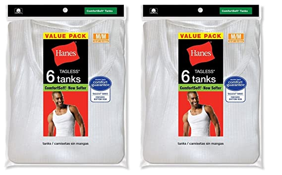 Hanes Men`s 12 Pack A-Shirts Classic Tagless Tanks - White - Large