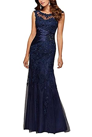 Baijinbai Womens Long Beaded Lace Applique Mermaid Bridesmaid Prom Dress Evning Gowns Navy UK26