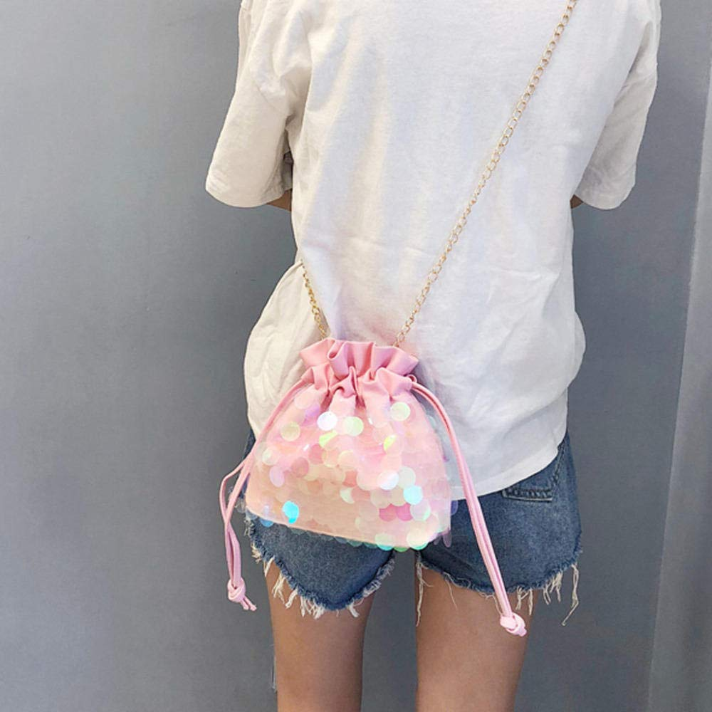LANDONA Beiläufige Frauen Sequins Bunte Prinzessin Bling Crossbody Beutel Schulter Kurier Damen justierbare Draw Pocket Einkaufstasche @ Pink A337