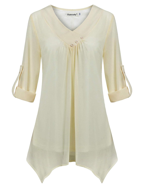 0593c84b643 Top3  Ouncuty Women 3 4 Sleeve Tunic Shirt Casual V Neck Button Office  Chiffon Blouses