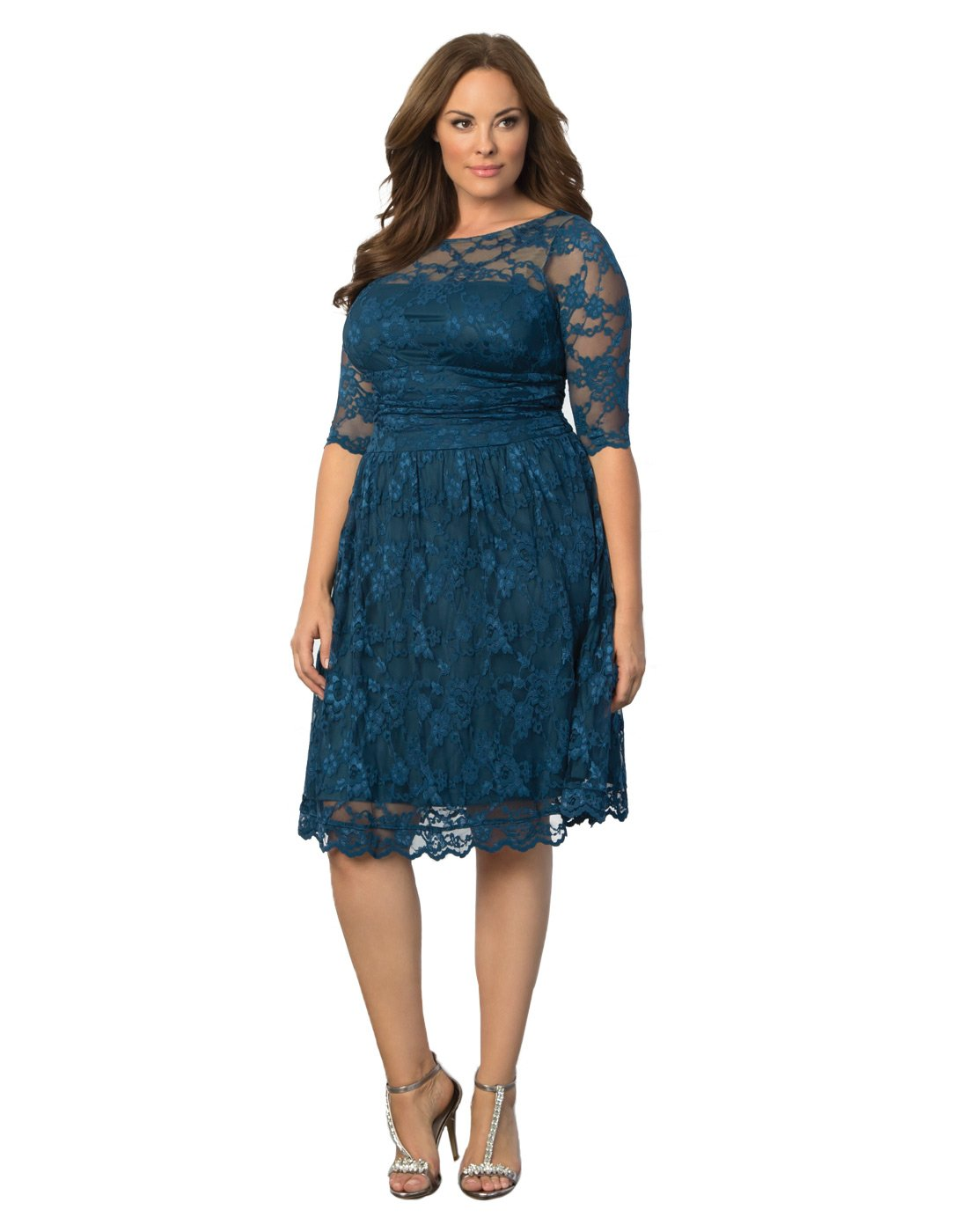 Kiyonna Women's Plus Size Luna Lace Cocktail Dress 0x Crazy About Blue by Kiyonna Clothing