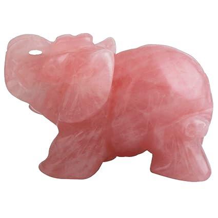 Amazon Com Mookaitedecor Rose Quartz Crystal Elephant Sculpture
