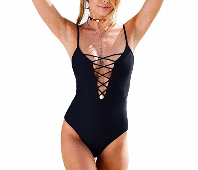 Womens One Piece Monokini Bodysuit Sexy Bathing Suit ...