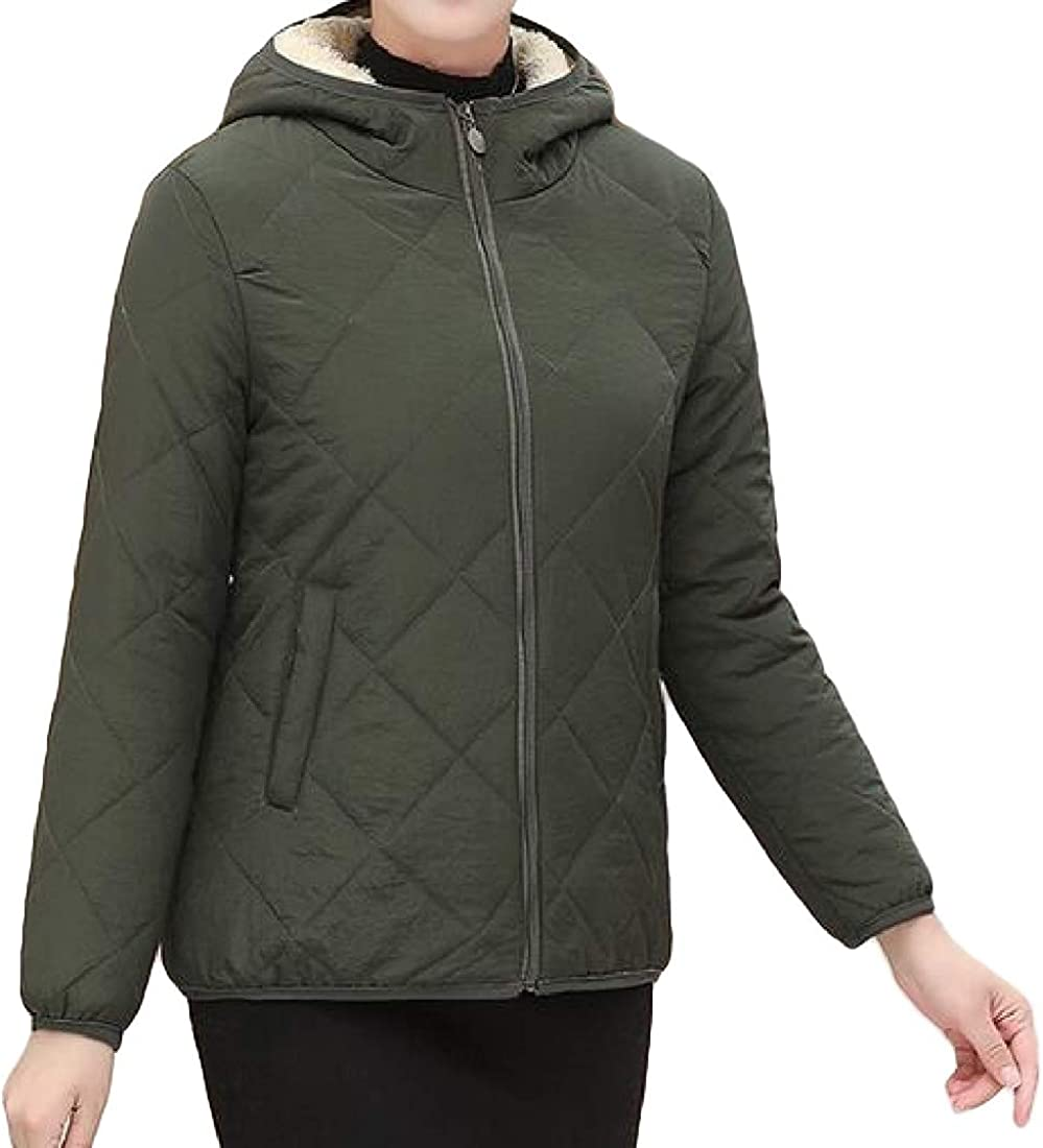 ouxiuli Womens Long Sleeves Quilted Zip Up Jacket