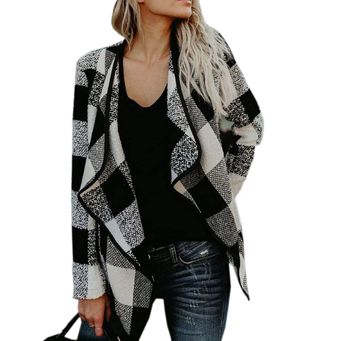 Black YueLian Women's Short Plaid Jacket Spring Long Sleeve Open Front Outfits