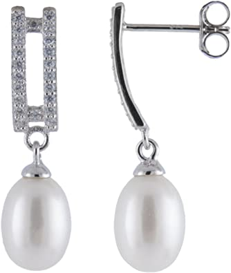 925 Sterling Silver Rhodium-plated Dangling Earrings 7.5-8mm Handpicked AA Quality Cultured Freshwater Pearls