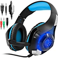 AFUNTA GM-1 Nuevo Xbox One S PS4 Pro – Auriculares para PC, Tablet, teléfono Celular, estéreo, LED, retroiluminada Gaming Headset con Mic-Blue