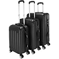 Teeker Travel 3 Piece 20'' 24'' 28'' ABS Storage Luggage Set (Black)