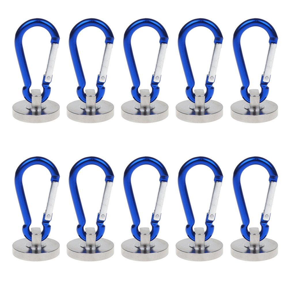 Pack of 10 UCONTRO Strong 35 Lbs Magnetic Carabiner Hook for Refrigerator, Kitchen, Door, Outdoor - Holding Ropes, Power tools, Wire, Cables, Grommets, Key by UCONTRO