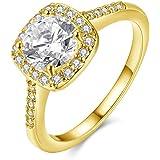 Souarts Damen Ring Mode Kreis Zirkonia Ring