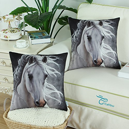 Pack of 2 CaliTime Soft Canvas Throw Pillow Covers Cases for Couch Sofa Home Decor, Vivid Wild Horses Print, 18 X 18 Inches, White Horse