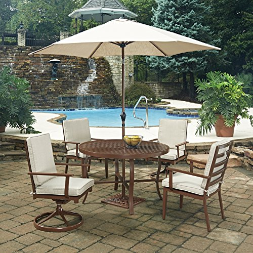 Home Styles 5701-32586 7 Piece Key West Round Outdoor Dining Set, Chocolate Brown