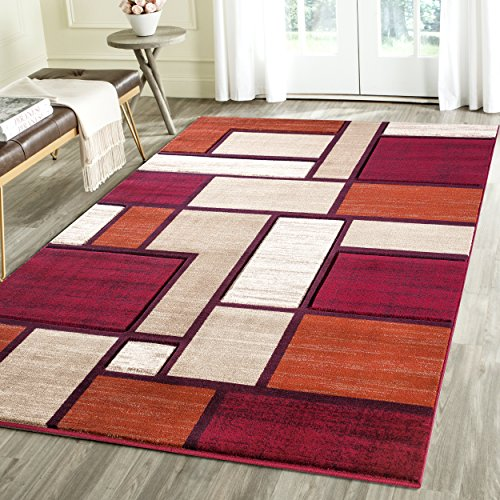 Feature 3 Feet Sheer Curtain (Contemporary Squared Geometric Emerald Collection Area Rug by Rug Deal Plus (2' x 3', Red/Orange))